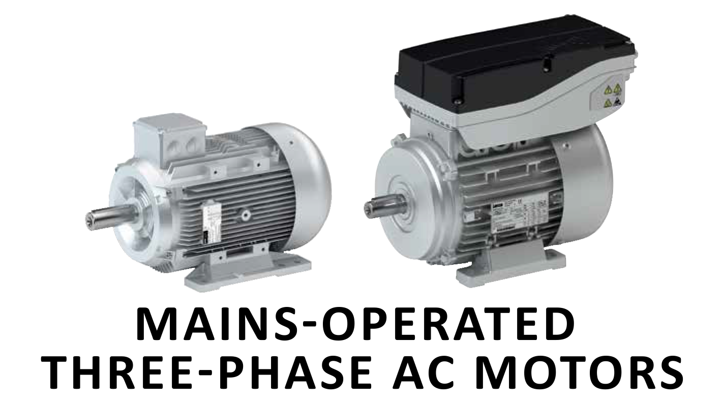 Mains-operated three-phase AC motors